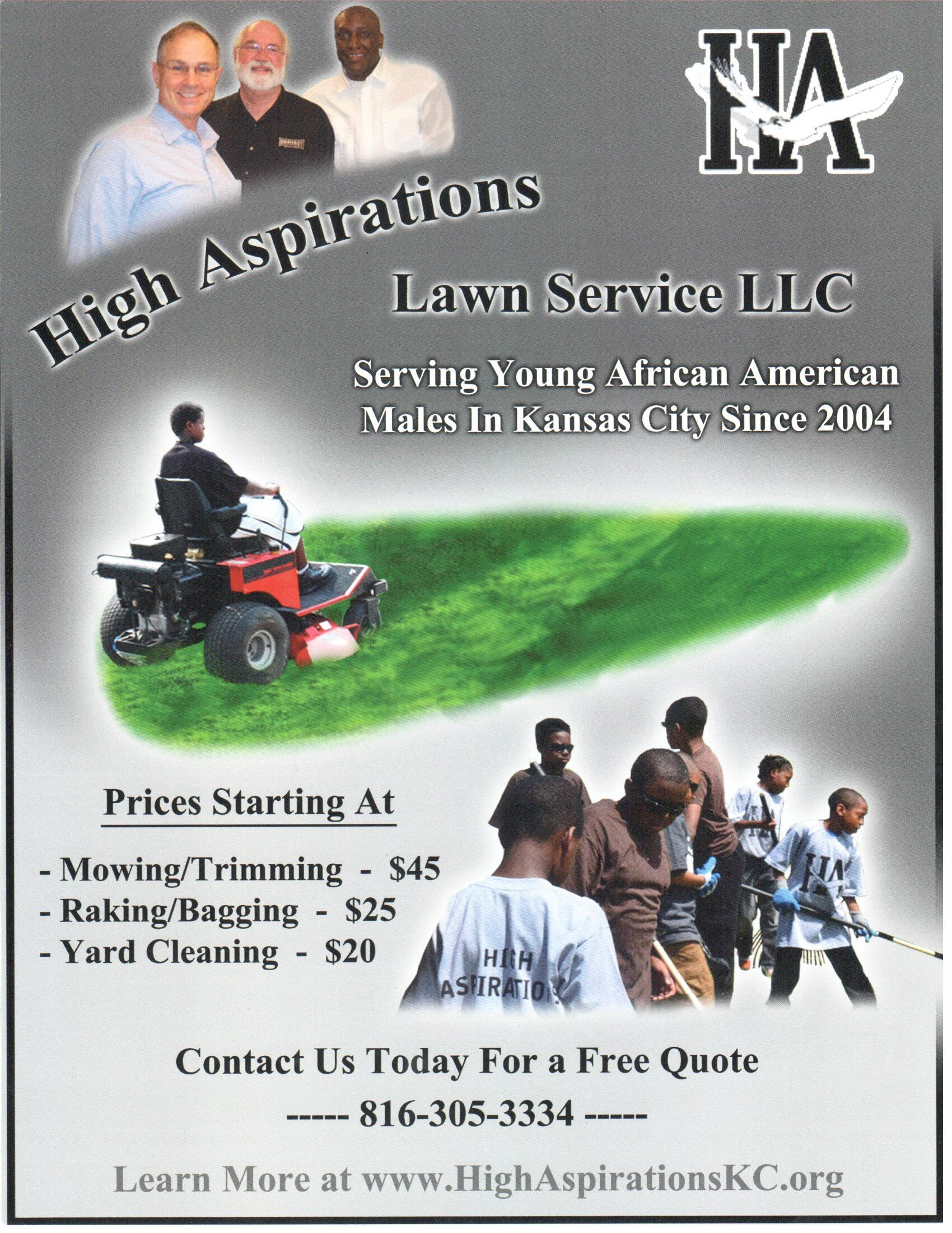 entrepreneurial lawn mowing program high aspirations lawn service flyer